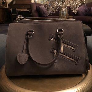 Rebecca Minkoff gray suede shoulder handbag